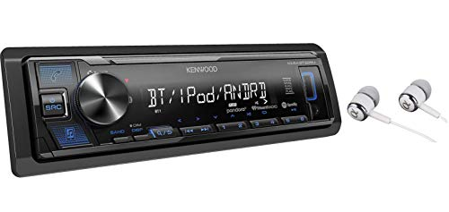Kenwood Single DIN Bluetooth in-Dash MP3, AM/FM, Front USB/Auxiliary Digital Media Car Stereo Receiver w/Dual Phone Connection, Spotify/Pandora/iPhone Control/with Alphasonik Earbuds