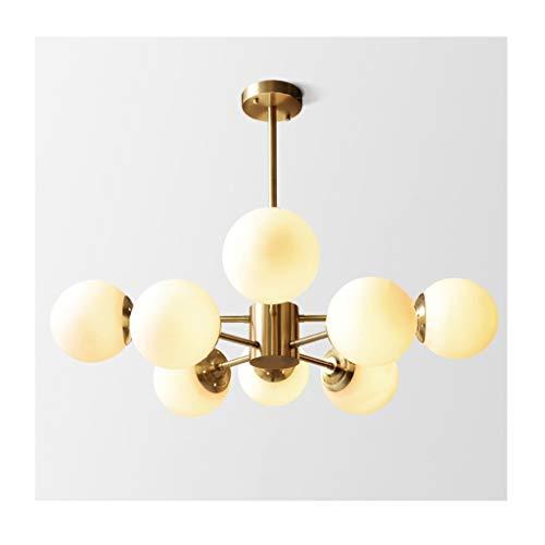 Lámpara simple moderna para comedor, dormitorio, sala de estar, lámpara nórdica, todo de cobre, sala de estudio de los hogares, plafón, 8 cabezas.