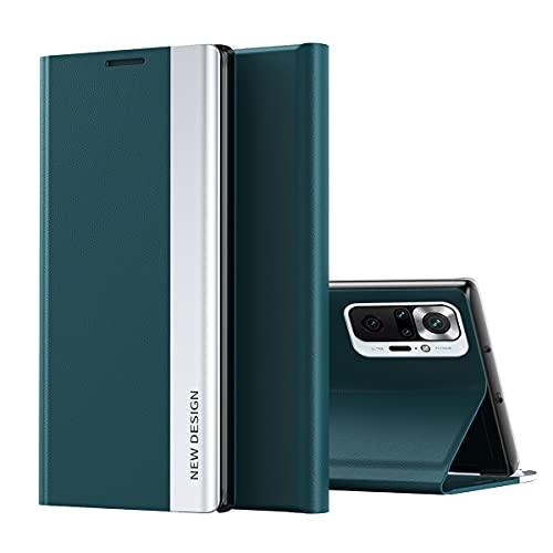 Redmi Note 10 Pro Funda, Midcas Ultra-Delgado Cierre Magnético Flip Cover Piel sintética Carcasa con Soporte Plegable para Xiaomi Redmi Note 10 Pro/Note 10 Pro MAX Verde