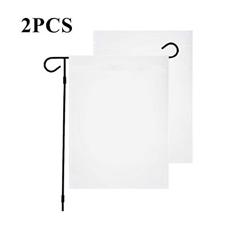 InnoFun Solid Color White Decorative Garden Flags,Plain Colored Blank Banner Double Sided DIY Flags 12