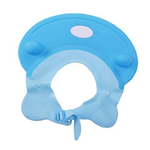 chiwanji Chapeau Douche Bébé, Réglable Visière Bonnets de Bain pour Enfants - Bleu