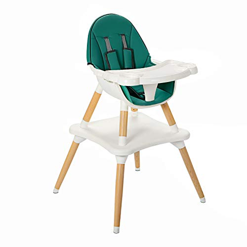 COEWSKE Baby Highchair Infant Wooden High Chair Dining Chairs Tray Table Chair Convertible 4 in 1 Multi-Functional 5-Point Seat Belt Adjustable Tray with PU Cushion(Blackish Green)