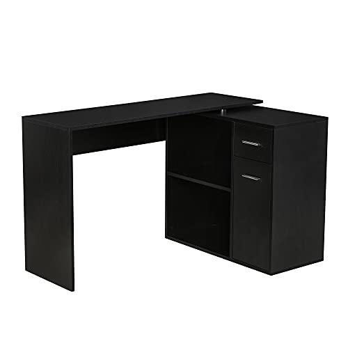 HOMCOM L Shaped Corner Computer Desk Workstation with Rotating Storage Shelves and Drawer for Home & Office, Black