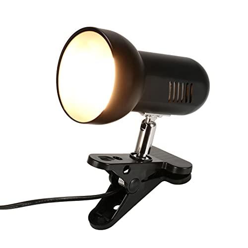 Porcyco Lámpara de mesa con pinza LED, casquillo E27, giratorio 360 grados, casquillo E27 con interruptor, lámpara de lectura para dormitorio (sin bombilla)