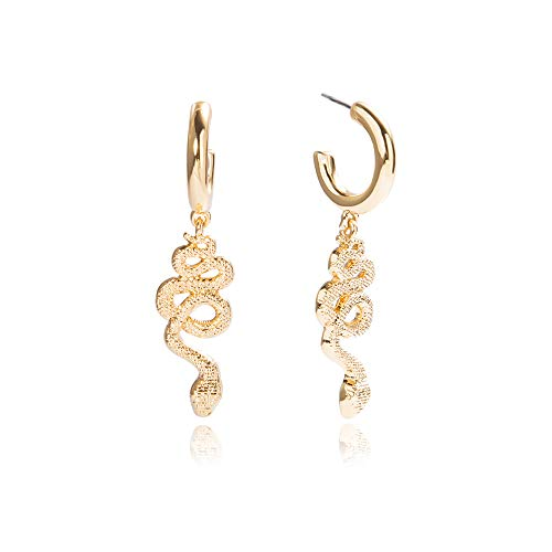 Rambling Rose Fashion Snake Drop Earrings for Women Men Gold Color Crystal Alloy Statement Exaggerated Earrings Animal Jewelry