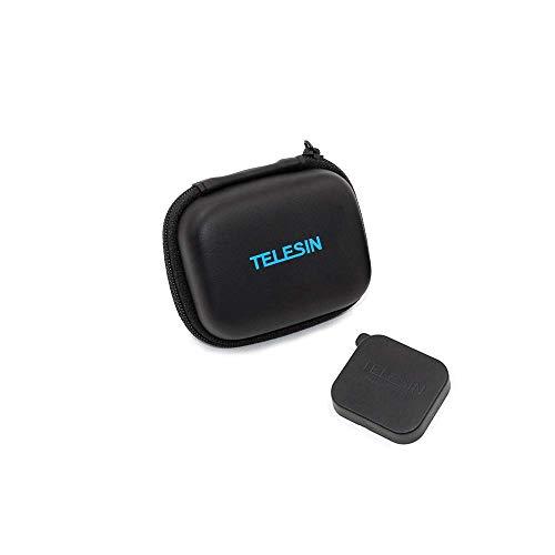 TELESIN PU Cuero Mini Bolsa Impermeable Estuche Protectora de Cámara Funda de Viaje + Tapa de Lente para GoPro Hero 7/(2018)/6/5/4/3, Session, Polaroid/AKASO/Campark/SJCAM/Xiaomi YI (Negro)