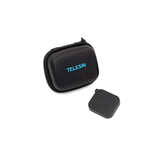 TELESIN Imperméable PU Mini Cuir Etui Transport Voyage Mini Sac + Couvercle Bouchon d'objectif pour GoPro Hero 7/(2018)/6/5/4/3, Session, Polaroid/AKASO/Campark/SJCAM/YI Action Camera and More (Noir)