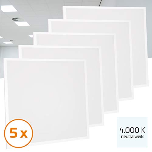 Proventa® LED-paneel 62 x 62 cm, 5 stuks, 36 W (A++), neutraal wit 4.000 K, 3.600 lumen, heraansluitbare voeding m. eurostekker, 2 jaar garantie