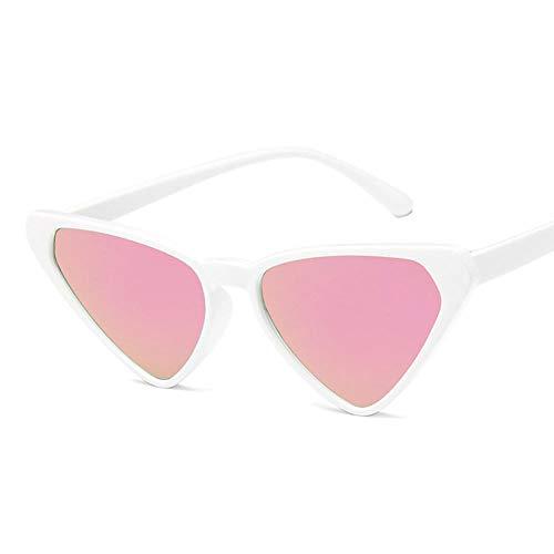 DLSM Gafas de Sol de Ojo de Gato Mujeres Gafas de Sol Retro Vintage Gafas Rosa Adecuado para Deportes al Aire Libre y Senderismo-Rosa Blanco