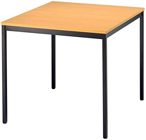 bümö® Tisch für Konferenzraum, Pausenraum, Warteraum od. Besprechungsraum | Konferenztisch System | Meetingtisch in 2 Dekoren & 4 Varianten (Gestell: schwarz | Platte: Buche, Quadrat: 80x80 cm)