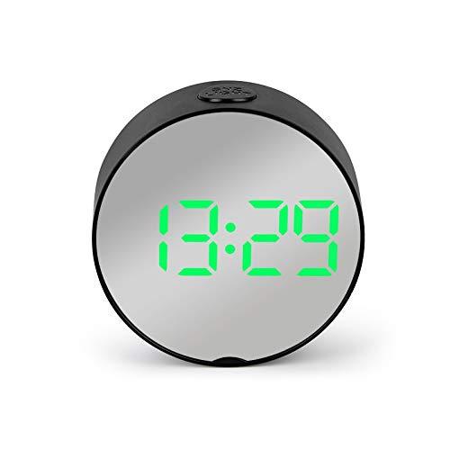 Despertador Reloj Despertador con Espejo Led Redondo 2021, Reloj De Mesa Digital, Luz Nocturna, Despertador con Temperatura, Despertador Electrónico, Decoración del Hogar (Color : A3)