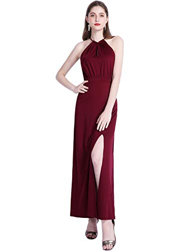 YOYAKER Sommerkleider Kleider Maxikleider Damen Vintage Cocktail Party Abendkleider Sexy Neckholder Lange Burgundy XL