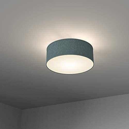 B.K.Licht Deckenleuchte 2 flammig Stoffleuchte weiß rund