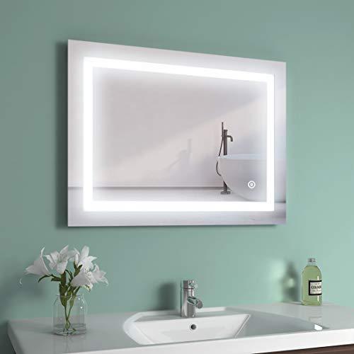 EMKE LED Badspiegel 80x60cm Badspiegel mit Beleuchtung 3 Lichtfarbe 3000-6400K kaltweiß Neutral Warmweiß Lichtspiegel Badezimmerspiegel Wandspiegel mit Touchschalter + Beschlagfrei IP44 energiesparend