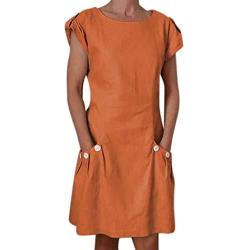 URIBAKY Leinenkleider Damen Sommerkleid Strandkleid,Kleider-Knielang Rock,Elegant T-Shirtkleid Kurzarm Lose Feste gekräuselte Taschen O-Ansatz verschieben