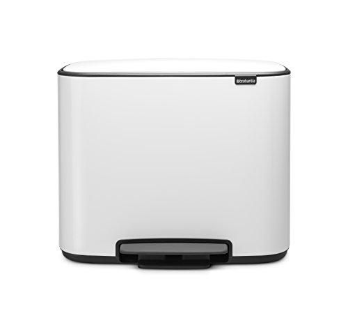 Brabantia - 121142 - Poubelle Bo Pedal Bin, 11 + 23 litres, Blanc