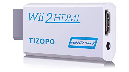 TIZOPO Wii to HDMI Converter,Wii HDMI Adapter Output Video Audio HDMI Converter 1080P,with 3,5mm Audio Jack&HDMI Output Compatible with Wii, Wii U, HDTV, Supports All Wii Display Modes 720P, NTSC