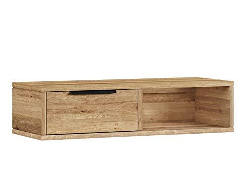 Woodkings® Wandregal Auckland aus Wildeiche 1Schub/1Fach, passend zum Lowboard Auckland, Wohnwand Modul, Holzmöbel, Regal, Holzregal, Regal mit Schubfach, Wandboard, Wandkonsole