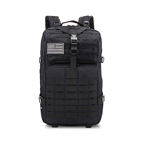 50L Large Capacity Men's Army Military Tactical Backpack Soft Back Outdoor Waterproof And Insect-Proof Rucksack Hiking Camping Hunting Bag,Black