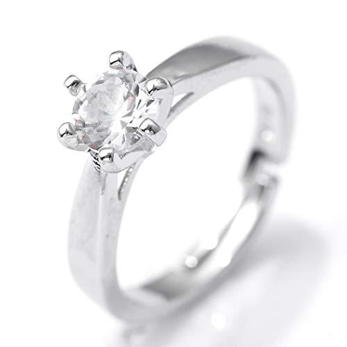 Flrora Anillo de amante ajustable con circonita cúbica, anillo de plata de compromiso, aniversario, anillo de nudillos, anillo de banda abierta, accesorios de joyería para mujeres y niñas