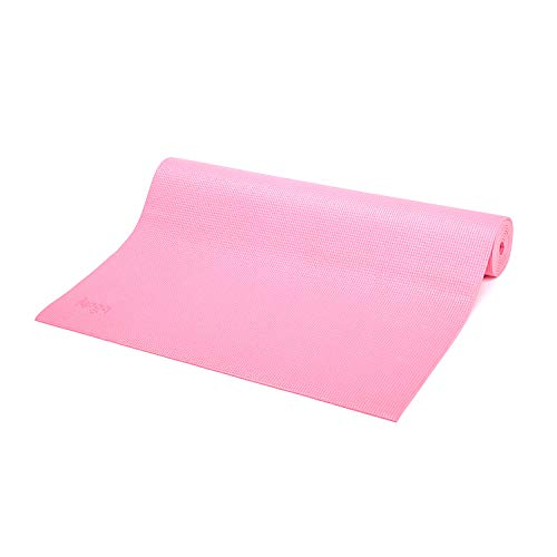 Bodhi Yoga-Matte ASANA aus PVC, schadstofffrei, rutschfest, waschbar, perfekt für Einsteiger, Fitness- und Pilates-Matte, 183 x 60 cm, 4mm, rosa-pink