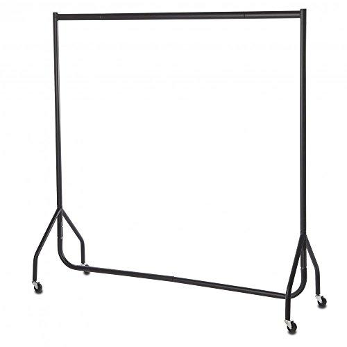 Shopfitting Warehouse Stabiler, Großer Kleiderständer, Garderobenständer – Robuste 153cm Lange Profi-Kleiderstange komplett aus Stahl in Schwarz