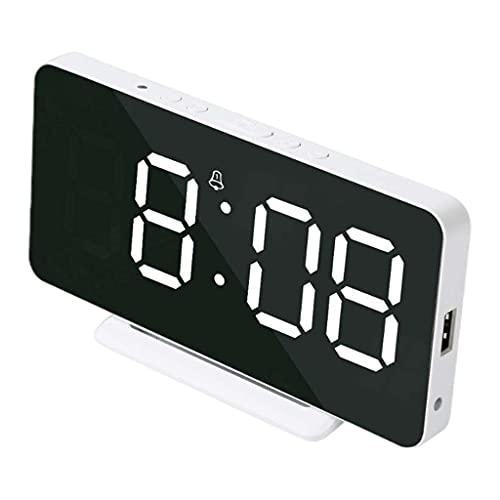 H HILABEE Despertador Nocturno Digital Posponer Modo Fin de Semana USB Sensible a La Luz - Blanco, Individual