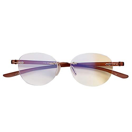 人気のふちなしタイプ フレームレスがお洒落な老眼鏡 ボスリントン ブルーライト35%カット[PrePiar](ブラウン,+3.0)