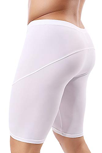MIZOK Mens Yoga Tight Shorts Quick Dry Seamless Training Gym Workout Jogger Shorts Swim Jammers Swimsuit (White, US M/Tag L Size Fit Waist 28-31 inch)