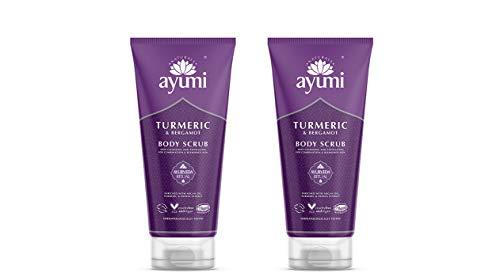 Ayumi Turmeric & Bergamot Body Scrub. Vegan, Cruelty-Free, Dermatologically-Tested, 2 x 200ml