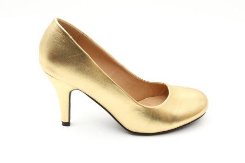 Elegante Pumps aus goldenem Lederimitat für Damen und Mädchen mit 9,5 cm Absatz – High-Heels – AM422 – In verschiedenen Farbvariationen – Größe EU 36
