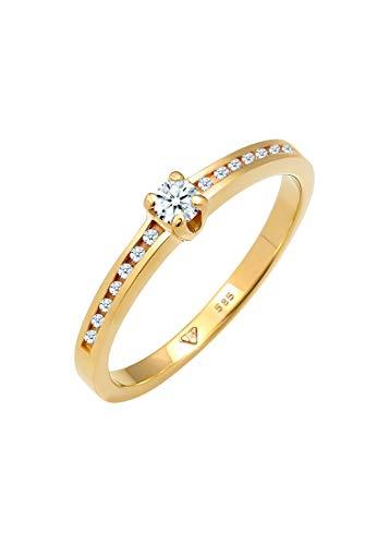 DIAMORE Ring Damen Verlobungsring mit Diamant (0.24 ct.) in 585 Gelgold