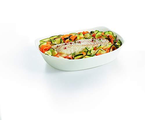 Luminarc - Plat rectangulaire Blanc Smart Cuisine Carine 250°C - Plat à Four en Verre Innovant - Léger et Extra-Résistant - Nettoyage Facile - Fabrication en France - Dimensions 30x22 cm