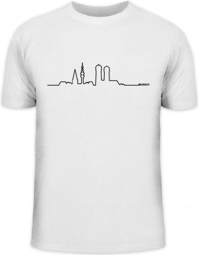 Shirtstreet24, Skyline Munich, München Oktoberfest Wiesn Herren T-Shirt Fun Shirt Funshirt, Größe: M,weiß