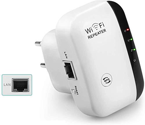SYOSIN WLAN Repeater WLAN-Signal verstärker 300Mbps 2,4GHz Range Extender mit LAN Port/WPS Taste/Repeater/AP-Modus Kompatibel mit Allen WLAN Geräten