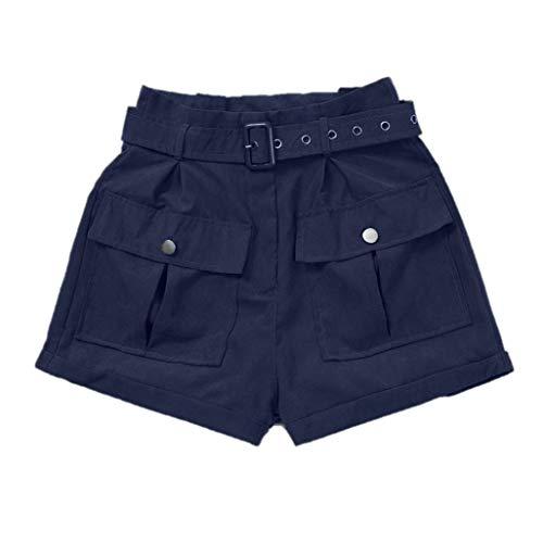 HWTOP Hosen Bermuda Short Damen Sommer Kurze Hose Mädchen Cargo-Shorts mit Taschen Weitbein Strandshorts Latzhose Freizeithose Overalls Hotpants Mit...