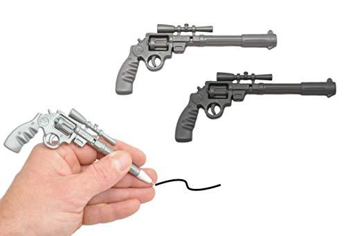 jameitop® 2er Set Pistole Kugelschreiber grau/schwarz 14x6 CM Waffen Kuli