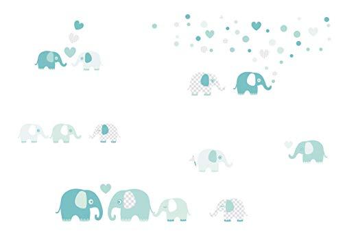 lovely label Wandsticker selbstklebend Elefanten Mint/GRAU - Wandaufkleber Kinderzimmer/Babyzimmer mit Elefanten in versch. Farben - Wandtattoo Schlafzimmer Mädchen & Junge, Wanddeko Baby/Kinder