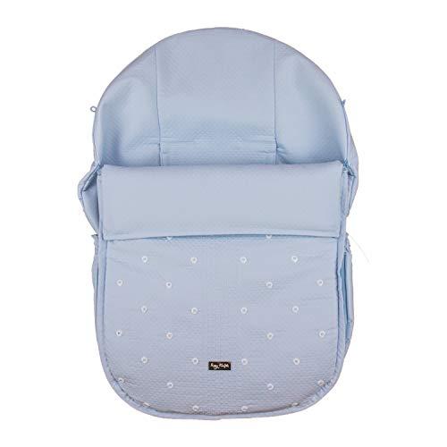 Rosy Fuentes - Saco de Capazo Grupo 0-10 x 50 x 60 cm - Color Celeste - Poliéster y Algodón - Equipado para ser Ajustado - Saco Universal para Silla de Bebé Grupo 0