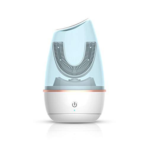 Cepillo de dientes eléctrico automático en forma de U para adultos, cepillo de dientes inteligente ultrasónico 360 ° con 3 modos, resistente al agua IPX7, carga inductiva, luz azul
