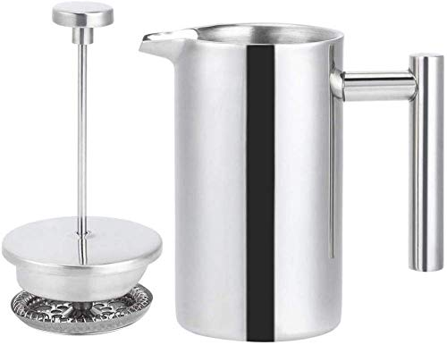 N/F Edelstahl French Press Kaffeemaschine 350Ml Doppelwandige Isolierte Kaffeemaschine Camping Kaffeemaschine Thermal Metal French Press Kaffee- Und Teemaschine Mit Filter Easy Clean & Easy Press