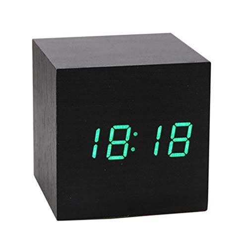 Klok Nieuwe Moderne Hout Digitale LED Bureau Alarm Klok Nachtkastje Kalender Tafeldecoratie Mini Hout Geluiden Controle