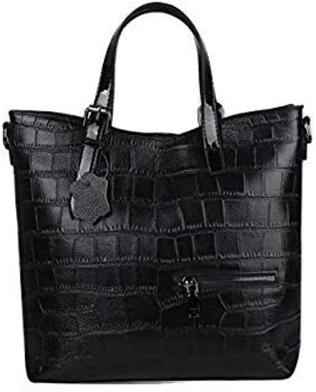 Bloomerang New Fashion Soft Genuine Leather Women's Designer Handbag Top Handle Tote Shoulder Messenger Bucket Bag Satchel color Black