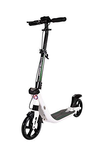 Mad Wheels Big Wheel Kick Scooter Urban Master, Patinete Urbano de Grandes Ruedas de 200 mm, Plegable en 1 Segundo con Freno de Manillar y Doble Suspension para Niños y Adulto (Blanco)