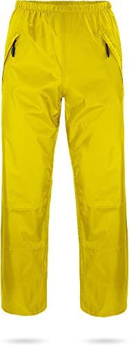 normani Unisex Regenhose 6000 mm wasserdicht, Winddicht und atmungsaktiv mit Reißverschlusstaschen für Damen und Herren Farbe Gelb Größe L