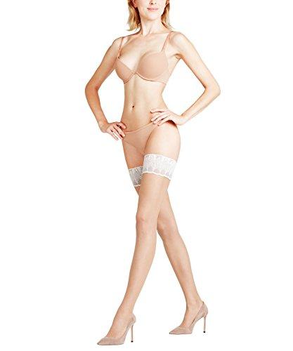 FALKE Damen Stay Ups Lunelle 8 Denier - Ultra-Transparente, 1 Paar, Beige (Powder/White 989), Größe: L