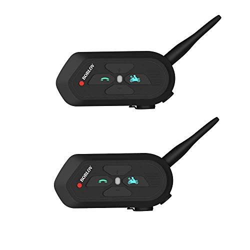 Boblov V6 Pro 1200 M - Interfono per casco da moto, con Bluetooth, 2 confezioni
