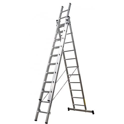 Escalera Profesional 3 tramos de Aluminio, Apertura en Tijera con tramos Extensibles, Barra estabilizadora con Tacos de PVC , 3 (tramos) x 11 (peldaños Altura: 3mt +3 MT +3mt