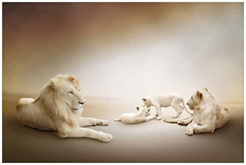 Wallario Acrylglasbild Löwenfamilie mit Jungtieren - 60 x 90 cm in Premium-Qualität: Brillante Farben, freischwebende Optik