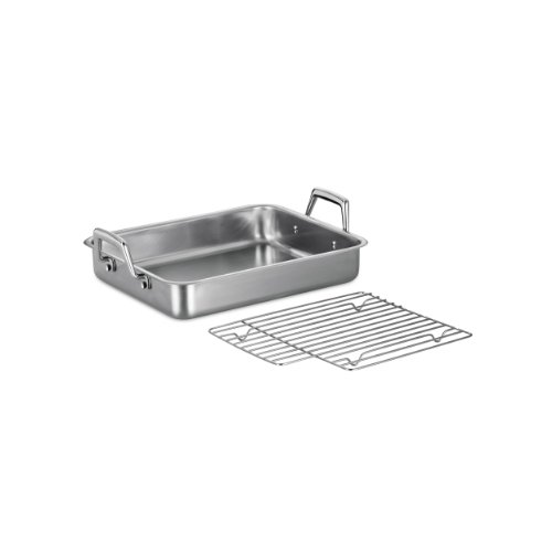 Tramontina 80203/003DS Gourmet Stainless Steel Rectangular Roasting Pan with Basting Grill, 13.5-Inch, Made in Brazil